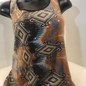 Chico's sequin front tank; brown back; size 3